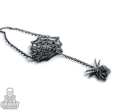 Orbweaver spiderweb halloween gothic necklace  by smarmyclothes, $17.00