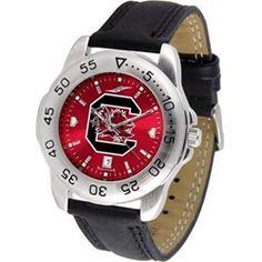 South Carolina Gamecocks Men's Leather Band Sports Watch