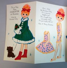 """1960's Rust Craft """"HOLLY""""  X-Mas Paper Doll Card (HOLLY 1)"""