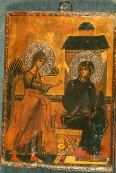 """""""Annunciation,"""" The Sinai Icon Collection Byzantine Icons, Byzantine Art, Religious Icons, Religious Art, Saint Catherine's Monastery, Statues, Paint Icon, Russian Icons, Bible Pictures"""