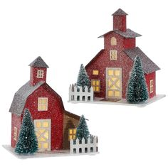 red barn paperboard houses with battery powered lights.  RAZ Christmas Tree Orchard 3712612
