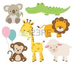 Vector illustration d'animaux mignons ensemble comprenant koala, crocodile, girafe, singe, lion, et les moutons