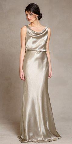 6ef26b04fb Charming Stretch Charmeuse Cowl Neckline Sheath Bridesmaid Dresses Vestido  De Madrina