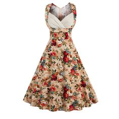 Vintage V-Neck Floral Printed Retro Rockabilly Dress //Price: $28.53 & FREE Shipping //     #sale