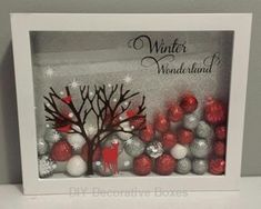 20 Shadow Box Ideas, Cute and Creative Displaying meaningful memories Christmas Signs, All Things Christmas, Christmas Holidays, Christmas Decorations, Christmas Ornaments, Diy Christmas Frames, Christmas Travel, Happy Holidays, Christmas Projects