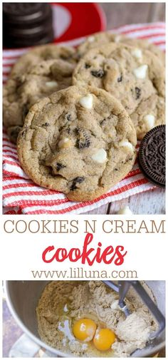 These soft and chewy Cookies N Cream Cookies are filled with white chocolate chips and Oreo chunks—great for any Oreo lover! #cookiesncreamcookies #oreocookies #oreos #cookierecipes #cookies White Chocolate Oreos, White Chocolate Chip Cookies, Chocolate Cake, Cookie Desserts, Dessert Recipes, Oreo Cookie Recipes, Cookie Cups, Bar Recipes, Carrot Cake Cookies