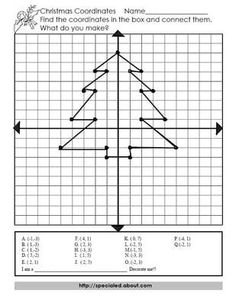 A Math Coordinate Pairs Puzzle for a Christmas Tree