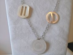 Vintage Mother of Pearl Buckle Necklace White by RagzandRelics
