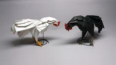 닭 (Chicken Rooster) Create : Choi Ju Young about 4545cm momikami black color craft paper by Choi ju young