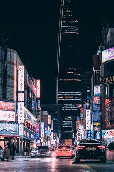 South Korea, street in the night. Aesthetic Korea, City Aesthetic, Travel Aesthetic, Daegu, Seoul Photography, South Korea Photography, Busan South Korea, South Korea Travel, Korea Wallpaper
