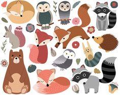 Woodland bestioles Clip Art - lot de 30 300 DPI PNG, JPG et les fichiers vectoriels - forêt mignon animaux Clipart Digital Download