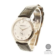 #Audemars Piguet Jules Audemars gents automatic watch, 18ct white #gold case with dial and black strap #luxurywatches #watches #onlineauction