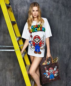 《SUPER MOSCHINO 》 @photo by @marcus_mam  @ #jeremyscott    Italian luxury fashion brand Moschino has teamed up with Nintendo to bring Super Mario Bros. for its 30th anniversary.