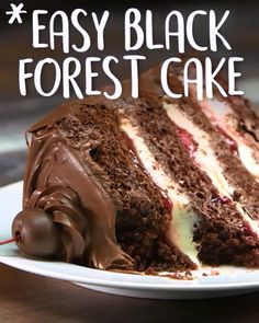 you're out of the woods with this delectable masterpiece that will make this 'Black Forest Cake'! you're out of the woods with this delectable masterpiece that will make this 'Black Forest Cake'! Yummy Recipes, Baking Recipes, Dessert Recipes, Crazy Cake Recipes, Just Desserts, Delicious Desserts, Yummy Food, Tasty, Savoury Cake