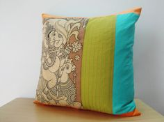 Items similar to Hand Painted Kalamkari Cushion Cover, God Pillow , Kalamkari Pillow , Decorative Pillow, throw Pillow made using Natural Vegetable Dyes on Etsy Cushion Cover Designs, Pillow Cover Design, Cushion Covers, Pillow Covers, Painting Walls Tips, Fabric Painting, Kalamkari Designs, Cushion Embroidery, Pillos