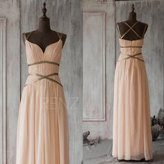 2015 Blush Bridesmaid DressPeach Long Prom DressCoral by RenzRags