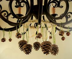 hanging pine cones.....maybe add some glitter!!!!