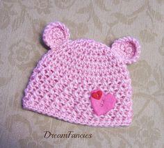Crocheted Baby Girl Teddy Bear Hat Pink Newborn by dreamfancies