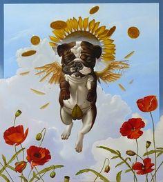 Icarus by Henk van Kalken, Oil paint on wood, 55 x 45 cm