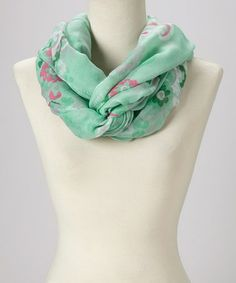 Another great find on #zulily! Mint & Pink Floral Infinity Scarf #zulilyfinds