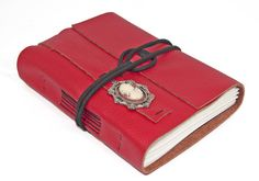 Red Leather Journal with Cameo Bookmark by boundbyhand on Etsy, $35.00
