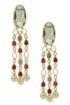 14K Yellow Gold Green Amethyst & Multicolor Sapphire Fringe Earrings