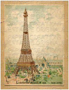 DIGITAL Download, Eiffel Tower Card, Exposition Universelle 1889, Shabby Chic, Chippy, Color, Paris, France, French from iblubiu in Chicago. Another great shop for digital downloads!