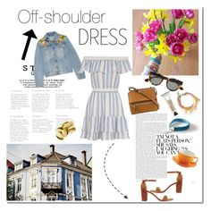 """""""Off-shoulder dress"""" by inesss ❤ liked on Polyvore featuring Gucci, LoveShackFancy, Stuart Weitzman, Givenchy, Westward Leaning, Price & Kensington and Meraki"""