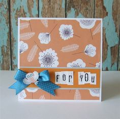 A simple handmade 'For You' card featuring flowers, feathers and an owl | docrafts.com