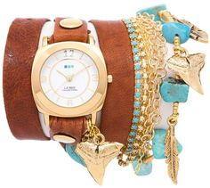 b9408bfbe La Mer Goldtone Charm Simulated Turquoise and Glass Bead Chain Tobacco  Brown Leather Wrap Watch Lentes