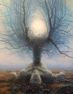 """Ireland based Polish painter Tomasz Alen Kopera - oils/acrylics on canvas, X Surreal Depictions of Human Nature Versus the Universe (My Modern Metropolis) titled """"Reborn"""" Invokes thought, challenges our perceptions. Art Visionnaire, Ouvrages D'art, Surrealism Painting, Painting Art, Visionary Art, Human Nature, Surreal Art, Conceptual Art, Tree Of Life"""