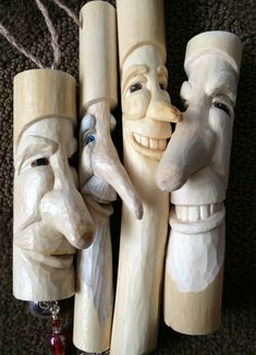 Hand carved wood spirits by Chickanwhittle