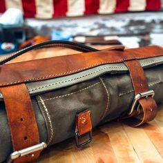 MOTOR OIL - WAXED CANVAS   LEATHER KNIFE ROLL 23fc8ed582a0