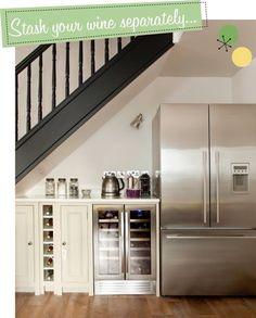 fridge and drinks fridge under stairs