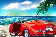 Porsche 356 Speedster, Mobile Art, Car Drawings, Automotive Art, Cultura Pop, Retro Futurism, Art Cars, Vintage Posters, Sketches