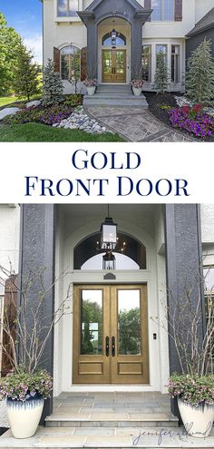 Our Gold Front Door! - Jennifer Allwood Home Simple House Exterior Design, Small House Design, Small House Decorating, Porch Decorating, Decorating Tips, Outdoor Wall Decor Large, Porch Plants, Gold Fronts, Painted Front Doors