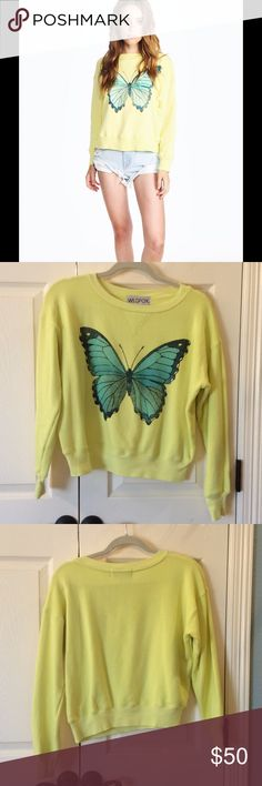 Wildfox Blue Butterfly Sloan Sweater EUC Super soft and cute sweatshirt.  Only worn once.  No flaws. 70% cotton, 30 % polyester. Wildfox Tops Sweatshirts & Hoodies
