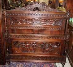 ~ French Antique Carved Oak Brittany Full Size Bed ~ bonanza.com
