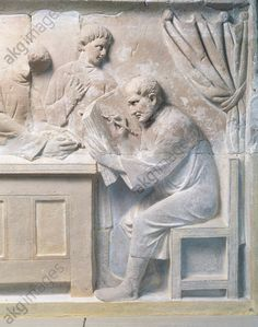 Relief from a mausoleum depicting a tax collector. C2nd AD Treviri, Rheinisches Landesmuseum (Rhineland Museum, Archaeological Museum)