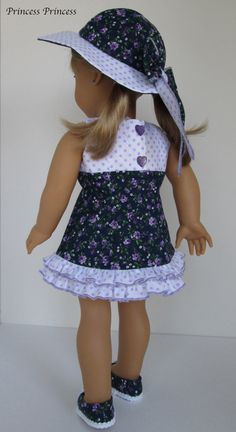 "Amelican girl doll clothes "" Emily "" - Purple polka dots / Small rose ( 3 pieces )"
