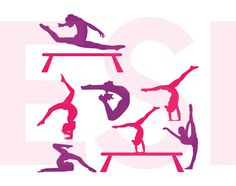 Set of gymnastics designs shapes and vectors for commercial use - can be used with Silhouette Cameo