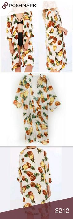 """""""TROPICAL COLLECTION"""" PINEAPPLE PRINT KIMONO NEW FROM OUR BOUTIQUE!! """"Troical Collection""""  This lovely tropical pineapple printed open front kimono style with approx 3/4 sleeves and small slits in the sides is perfect for casual wear or pairing over a swimsuit as a beach cover up!  100% viscose One size . Tops"""