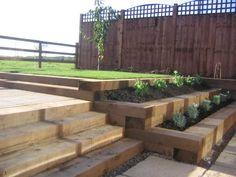 sleeper created steps & beds - for veg/fruit garden on rear slope!