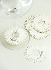 wine stem name tags, made with craft paper... make a bunch to keep on hand!