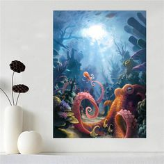 Custom canvas poster Art octopus poster cloth fabric wall poster print Silk Fabric Print SQ0512-97