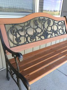 Restored Park Bench with Stain Spray Paint Metal Outdoor Bench, Metal And Wood Bench, Outdoor Garden Bench, Garden Benches, Outdoor Sofa, Porch Bench, Diy Bench, Outside Benches, Cast Iron Bench
