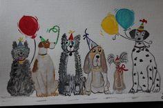 Dessin Fantaisiste - Dog's Party - Feuille Lin Figueiras Camson 29 x 33 cms