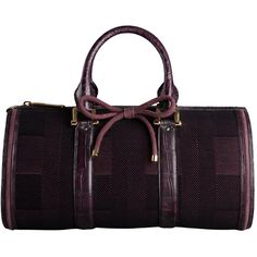 BURBERRY BARREL IN CHECK JACQUARD ($17,000) ❤ liked on Polyvore featuring bags, purses, handbags, burberry, accessories, women's accessories - bags, bowler bag, bow bag, burberry bags and purple bag