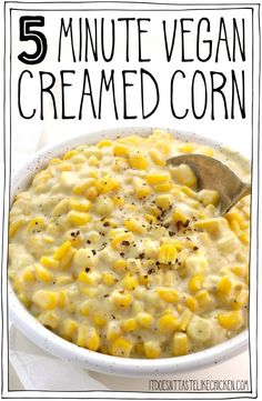 This 8 ingredient vegan creamed corn is the perfect side dish for your holiday feast. It will pair beautifully with Thanksgiving or Christmas dishes, or for any meal you like! dinner make ahead 5 Minute Vegan Creamed Corn Whole Foods, Whole Food Recipes, Cooking Recipes, Vegan Thanksgiving Dinner, Thanksgiving Recipes, Holiday Recipes, Easy Vegan Dinner, Dinner Recipes, Vegan Art