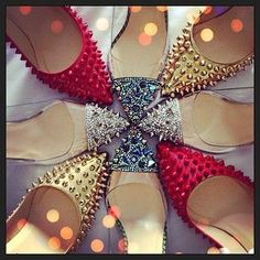 Christian Louboutin Pigalle Spikes Patent 100mm Leather Red Bott